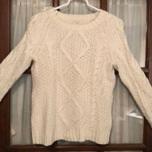 Thick white cable knit sweater